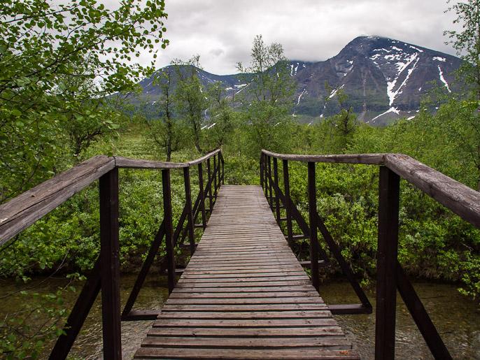 Silta koivikossa ja Akka-massiivi. Vuojatätno, Ruotsi