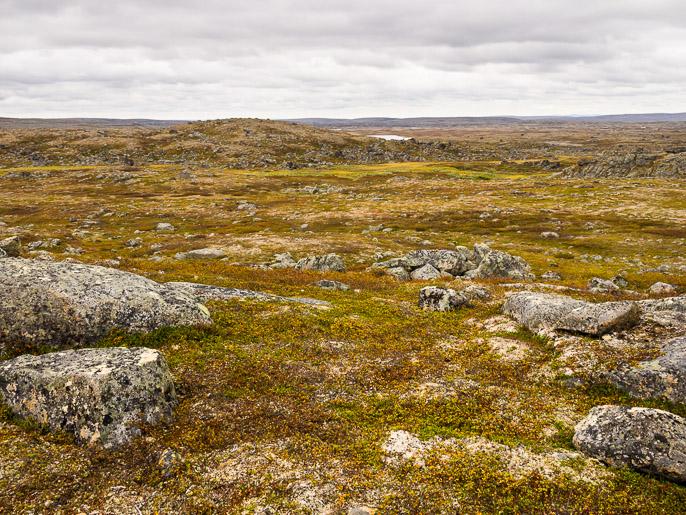 Finnmarkilainen maisema jatkuu, vesistöjä pystyy onneksi käyttämään osoittamaan suuntaa. Uhcaguolban, Norja