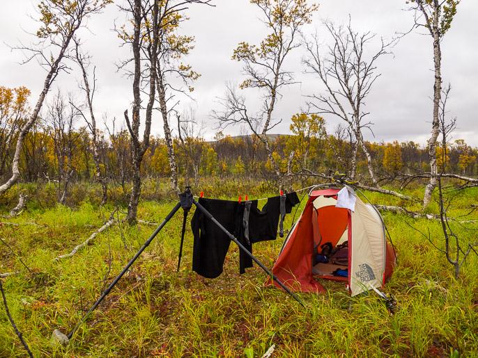 Toivotonta pestyjen vaatteiden kuivatusta viileässä, pilvisessä ja tyynessä säässä. Alljaveadji, Norja