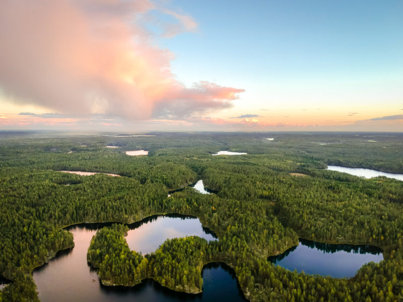 Aerial photo of Nuuksio National Park, beautiful Finnish nature with lakes and forest